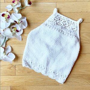 HOLLISTER top size XS white crochet shelf bra